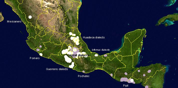 Mapa que muestra las áreas de Mesoamérica donde se habla el Náhuatl hoy (color blanco). (via Wikimedia Commons