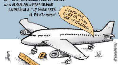 Cartón Caricatura Avion Presidencial