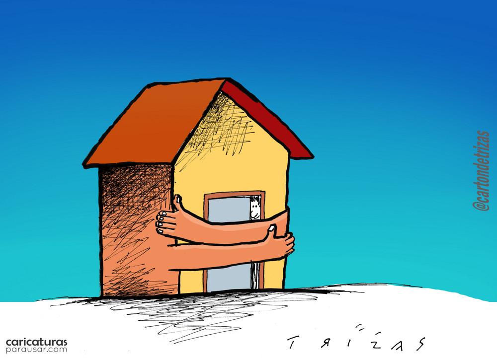 Cartón Caricatura Quédate en tu Casa