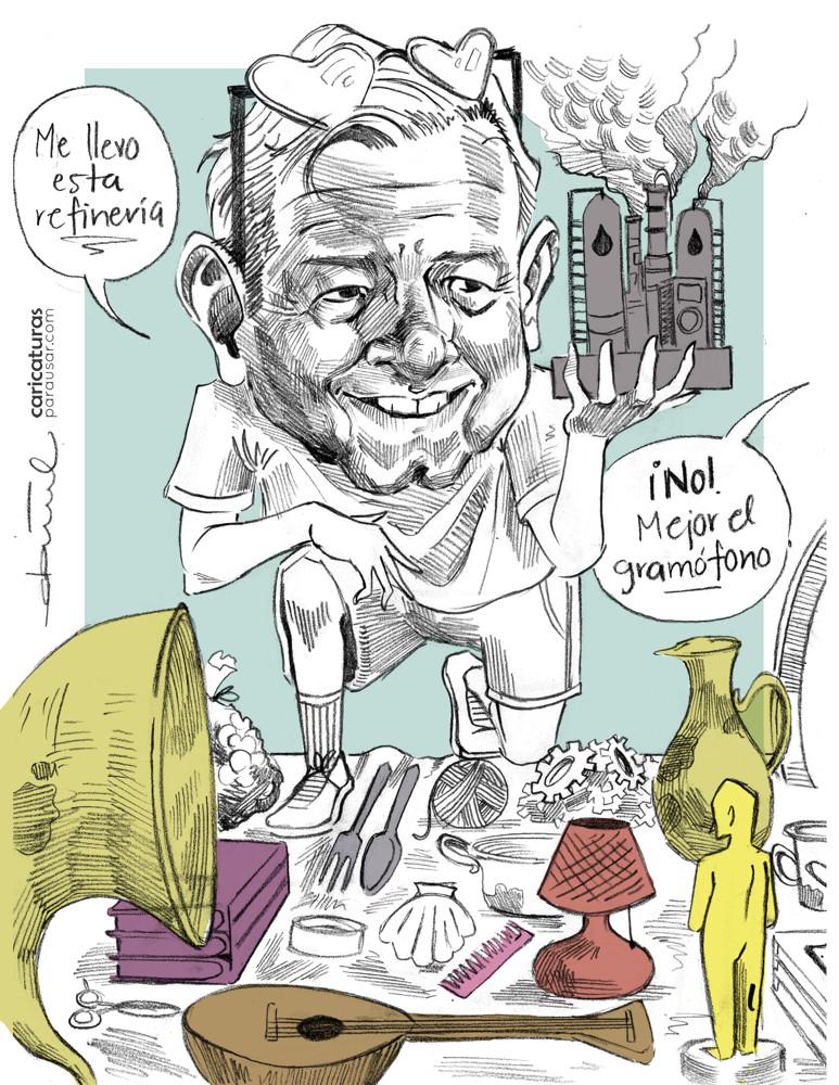 Caricatura sobre adquisición de Refinería